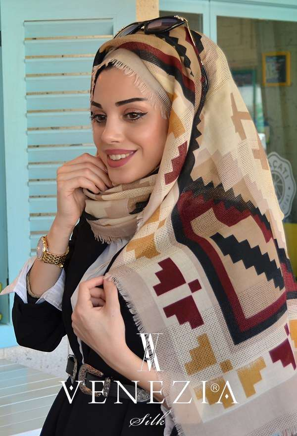 AKEL - Venezia Kilim Desen Fileli Cotton Şal 31315-001 (1)