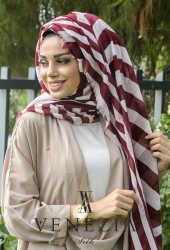 Akel Asimetrik Desen Fileli Cotton Şal 32610-005 - Thumbnail