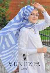 Akel Asimetrik Desen Fileli Cotton Şal 32610-001 - Thumbnail