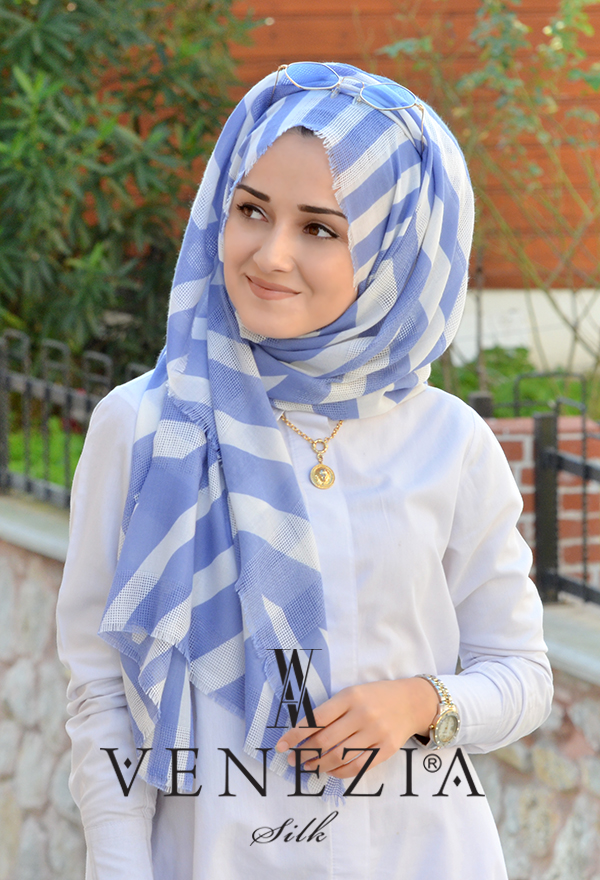 Akel Asimetrik Desen Fileli Cotton Şal 32610-001