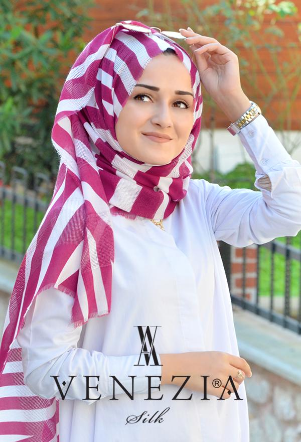 Akel Asimetrik Desen Fileli Cotton Şal 32610-002