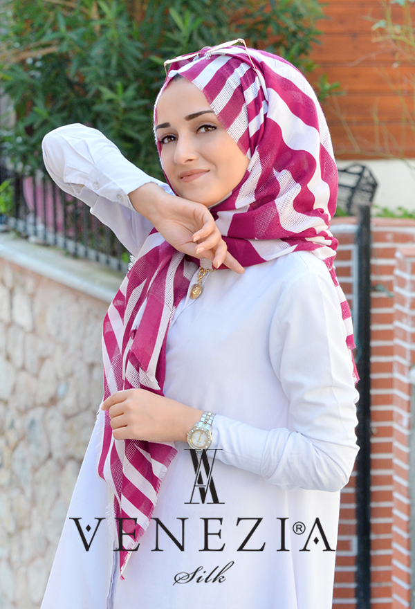 Akel Asimetrik Desen Fileli Cotton Şal 32610-002