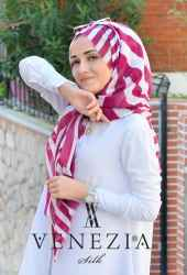 Akel Asimetrik Desen Fileli Cotton Şal 32610-002 - Thumbnail
