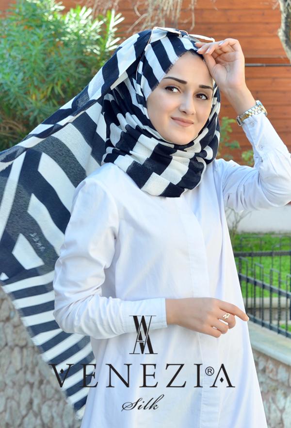 Akel Asimetrik Desen Fileli Cotton Şal 32610-008