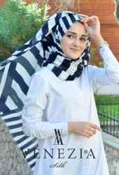 Akel Asimetrik Desen Fileli Cotton Şal 32610-008 - Thumbnail