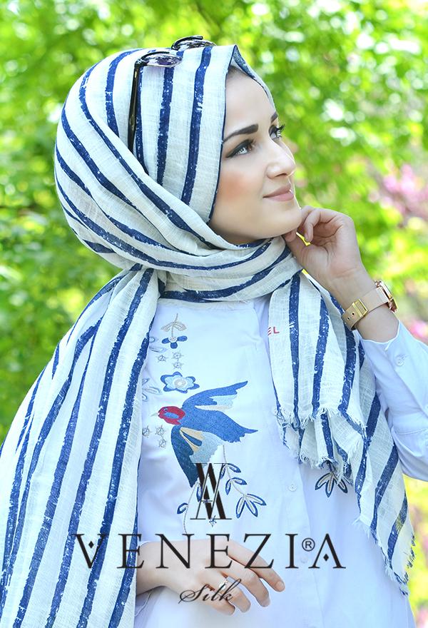 Akel Çizgili Desen Cotton Şal 35241-004