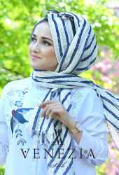 Akel Çizgili Desen Cotton Şal 35241-004 - Thumbnail