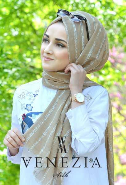 AKEL - Akel Çizgili Desen Cotton Şal 35241-005 (1)
