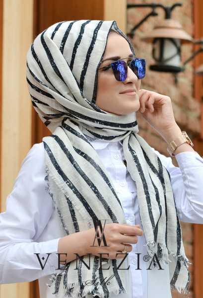 AKEL - Akel Çizgili Desen Cotton Şal 35241-008 (1)