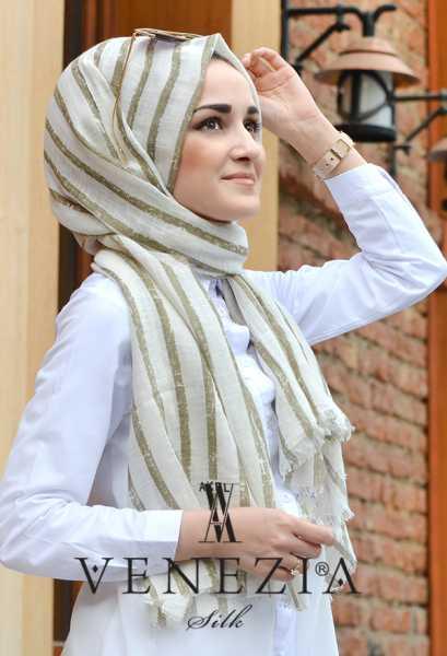 AKEL - Akel Çizgili Desen Cotton Şal 35241-009 (1)