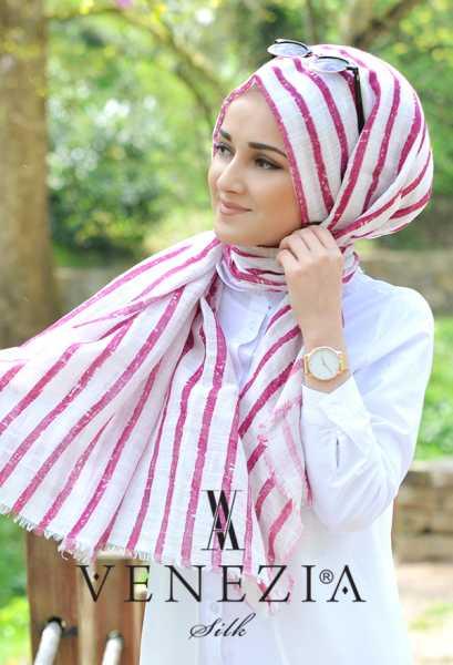 AKEL - Akel Çizgili Desen Cotton Şal 35241-010 (1)