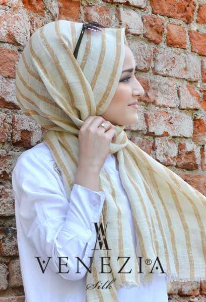 AKEL - Akel Çizgili Desen Cotton Şal 35241-015 (1)