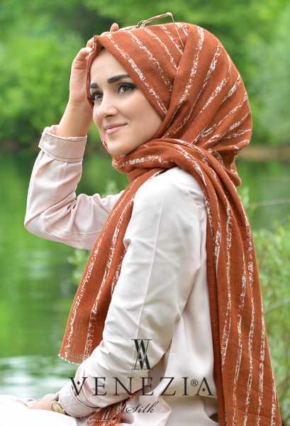 AKEL - Akel Çizgili Desen Cotton Şal 35241-019 (1)