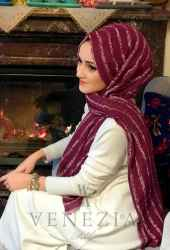 Akel Çizgili Desen Cotton Şal 35241-020 - Thumbnail