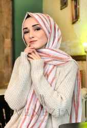 Akel Çizgili Desen Cotton Şal 35241-007 - Thumbnail