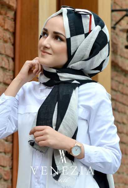 3 Şal 100 TL - Akel Geometrik Desen Cotton Şal 35242-001 (1)
