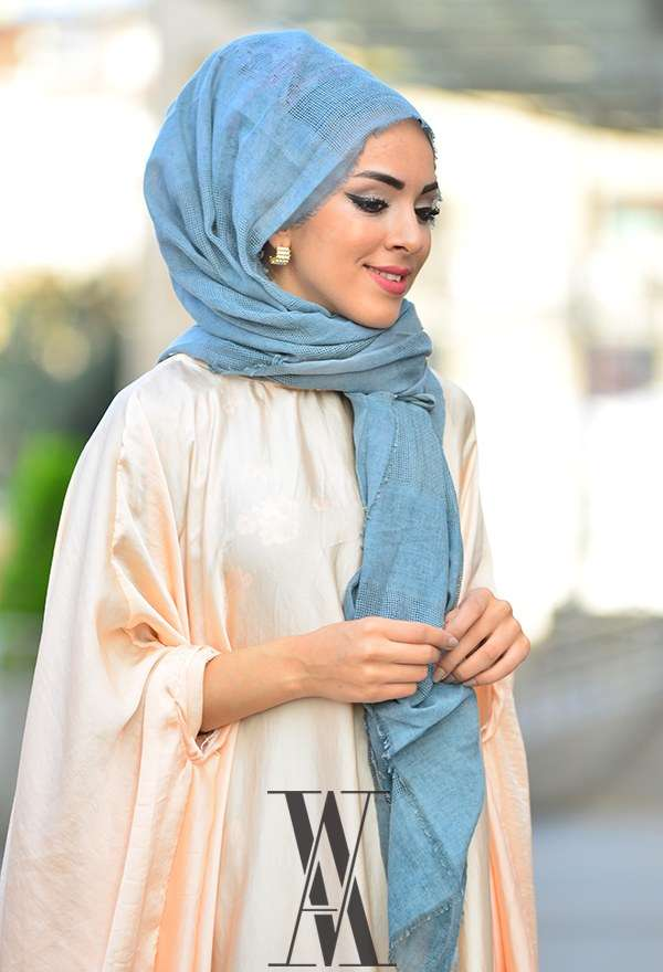 Armine - Fileli Cotton İndigo Şal 3907-7 Armine (1)