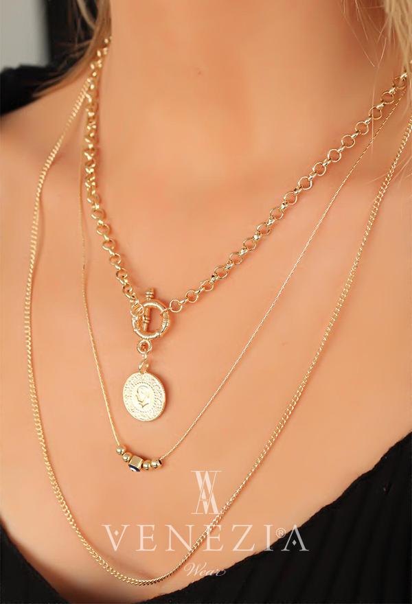 Madalyonlu Çoklu Zincirli Bayan Kolye BKO3836