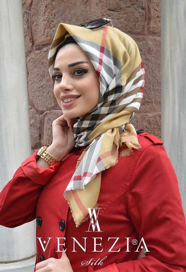 Pamuklu Orjinal Ekose Renk Beyaz Kırmızı Pamuklu Eşarp Aker - 176249-347