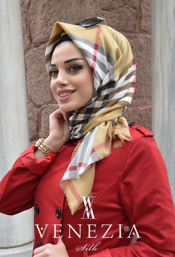AKER - Pamuklu Orjinal Ekose Renk Beyaz Kırmızı Pamuklu Eşarp Aker - 176249-347 (1)
