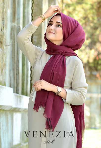 SURA İPEK - Sura Düz Renk Pul Payetli Simli Şal 35277-016 (1)