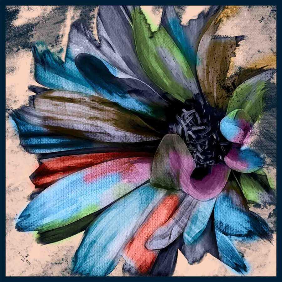 Twill İpek Eşarp Mavi Karışık Çiçek Desenli Aker Eşarp 3445776-88
