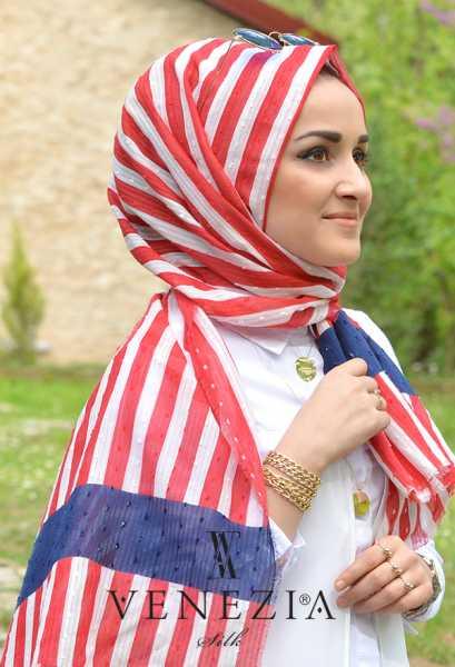 Us. Polo Assn. - U.s Polo Assn. Şerit Desen Cotton Şal 35249-007 (1)