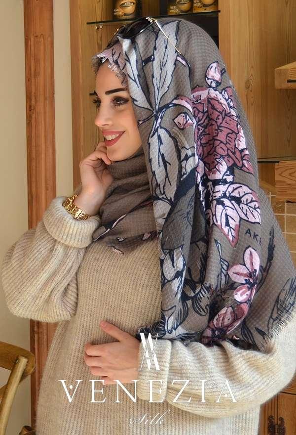 AKEL - Venezia Silk Çiçek Desen Fileli Cotton Şal 31039-005 (1)