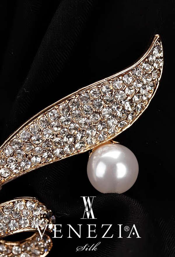 VENEZİA SİLK - Venezia Silk Kristal Parlak Taşlı Aksesuar Broş BRS173 (1)