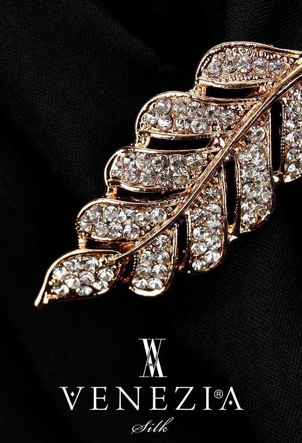 VENEZİA SİLK - Venezia Silk Kristal Parlak Taşlı Aksesuar Broş BRS176 (1)