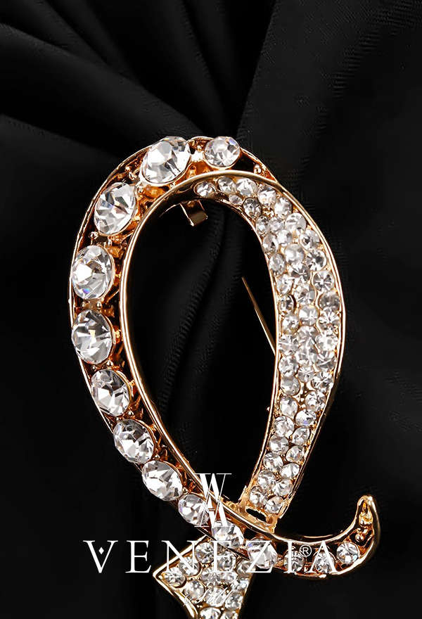VENEZİA SİLK - Venezia Silk Kristal Parlak Taşlı Aksesuar Broş BRS180 (1)