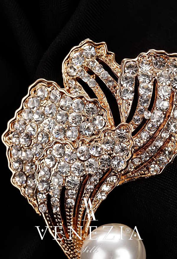 VENEZİA SİLK - Venezia Silk Kristal Parlak Taşlı Aksesuar Broş BRS182 (1)