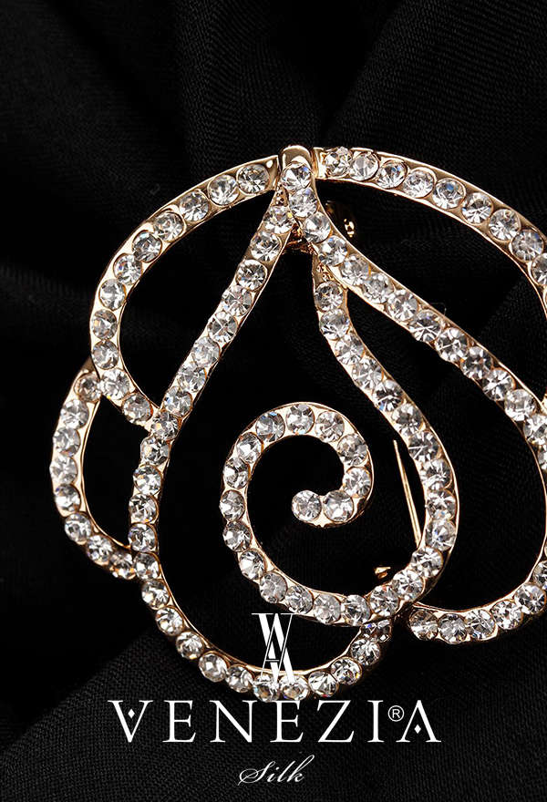 VENEZİA SİLK - Venezia Silk Kristal Parlak Taşlı Aksesuar Broş BRS187 (1)