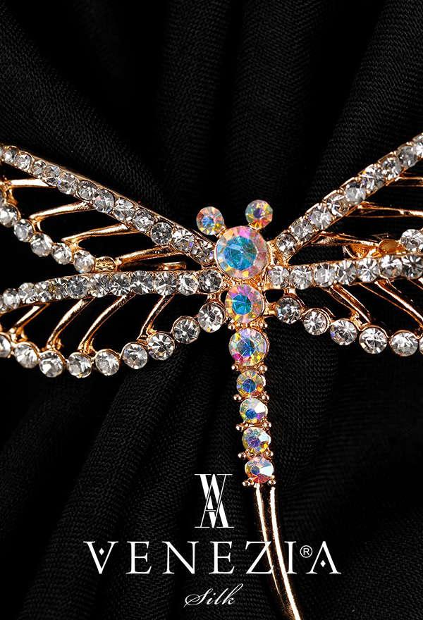 VENEZİA SİLK - Venezia Silk Kristal Parlak Taşlı Aksesuar Broş BRS190 (1)