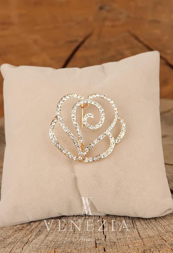 Venezia Silk Kristal Parlak Taşlı Aksesuar Broş BRS267