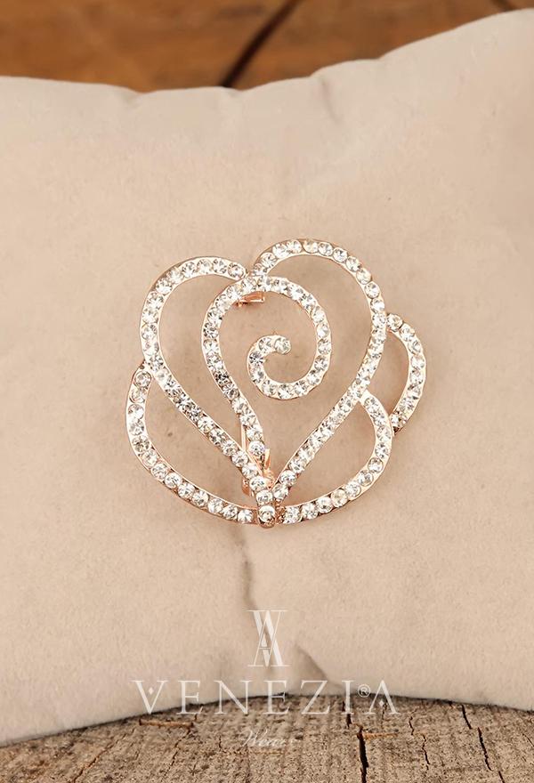 Venezia Silk Kristal Parlak Taşlı Aksesuar Broş BRS268