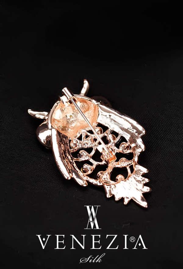 VENEZİA SİLK - Venezia Silk Kristal Parlak Taşlı Aksesuar Broş BRS160 (1)