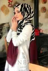 Venezia Silk Zebra Desen Fileli Cotton Şal 31306-001 - Thumbnail