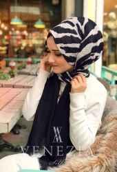 Venezia Silk Zebra Desen Fileli Cotton Şal 31306-009 - Thumbnail