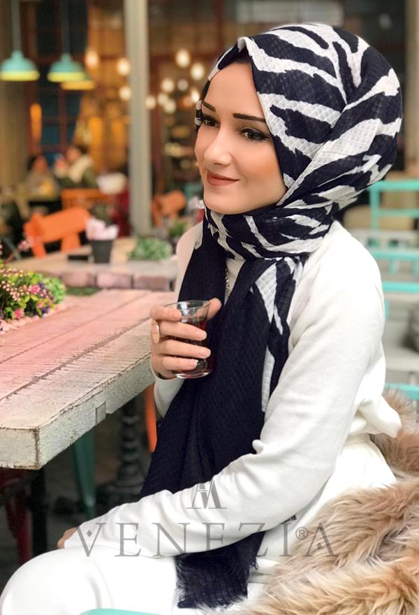Venezia Silk Zebra Desen Fileli Cotton Şal 31306-009