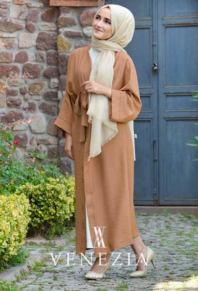 VENEZİA WEAR - Venezia Wear Düz Renk Kuşaklı Kimono 8020-004 (1)
