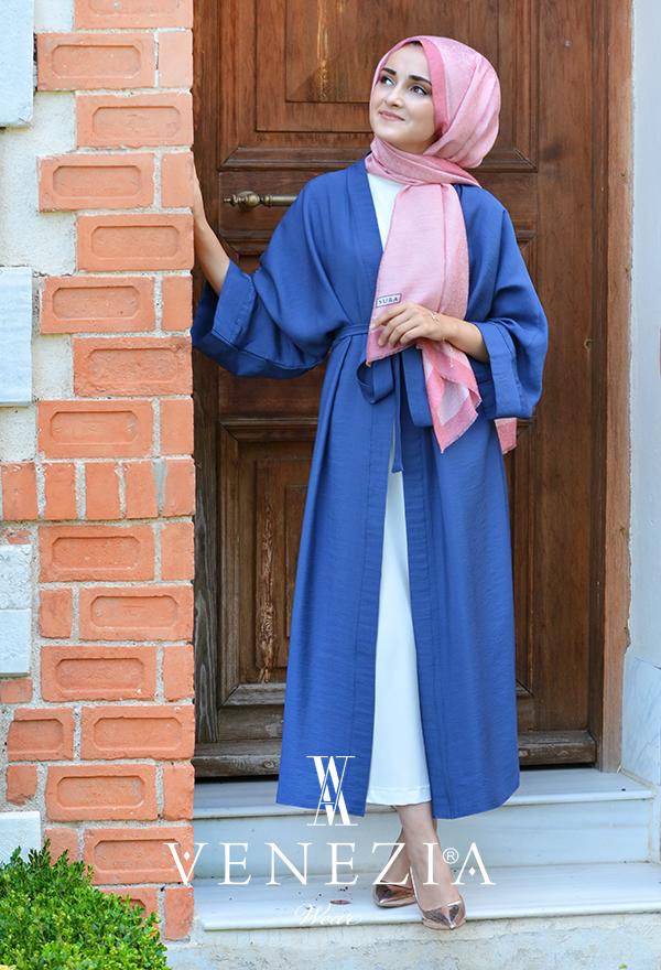Venezia Wear Düz Renk Kuşaklı Kimono 8020-003