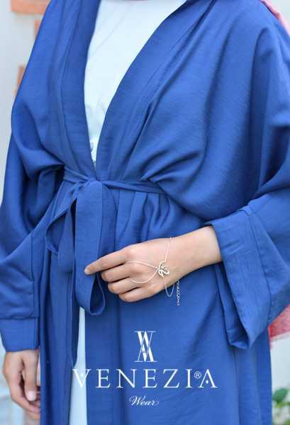 VENEZİA WEAR - Venezia Wear Düz Renk Kuşaklı Kimono 8020-003 (1)