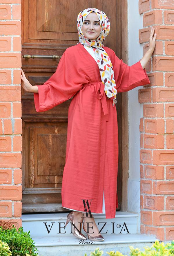 Venezia Wear Düz Renk Kuşaklı Kimono 8020-002