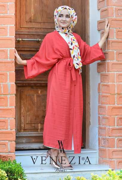 VENEZİA WEAR - Venezia Wear Düz Renk Kuşaklı Kimono 8020-002 (1)