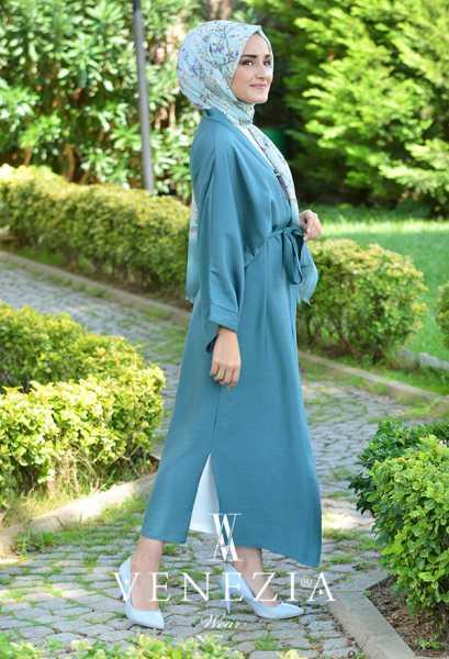 VENEZİA WEAR - Venezia Wear Düz Renk Kuşaklı Kimono 8020-001 (1)