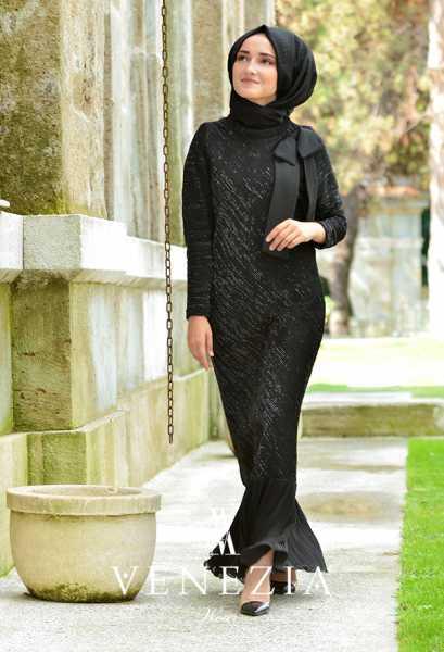 VENEZİA WEAR - Venezia Wear Fiyonklu Abiye Elbise 6005-001 (1)