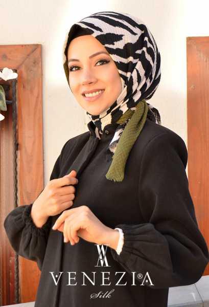 VENEZİA SİLK - Venezia Zebra Desen Cotton Şaleşarp 35227-001 (1)